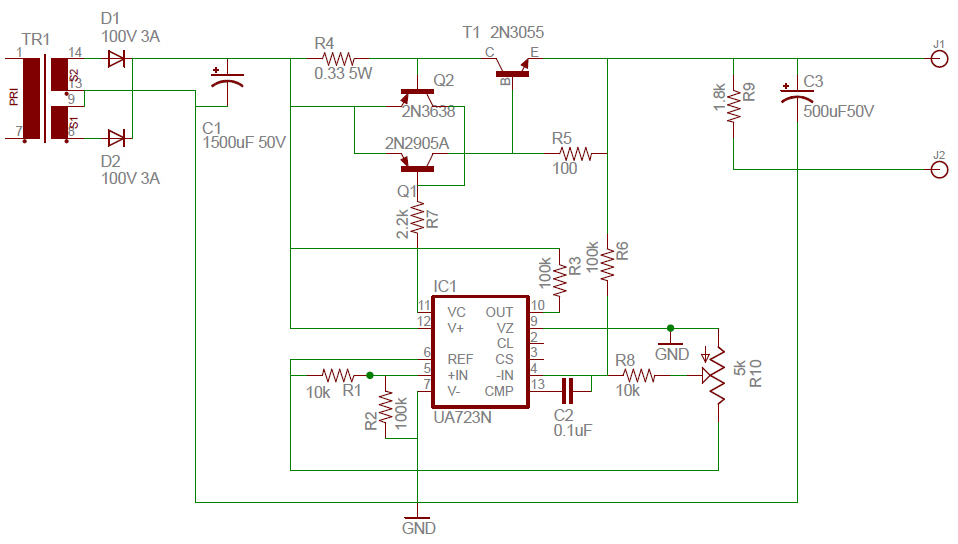 Bugworkshop 甲蟲工作室 Diy Ua723 Lm723 0 30v 2a 可調線性穩壓電源 電路