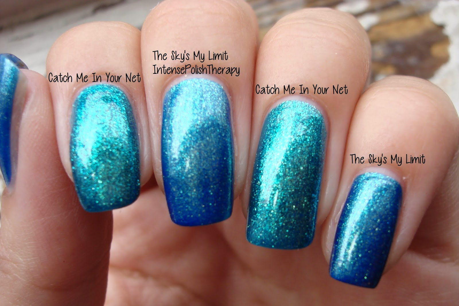 OPI - The Sky's My Limit & Catch Me In Your Net - Comparison