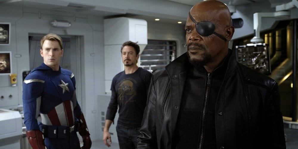 Chris Evans, Robert Downey Jr. e Samuel L. Jackson em OS VINGADORES - THE AVENGERS (The Avengers)
