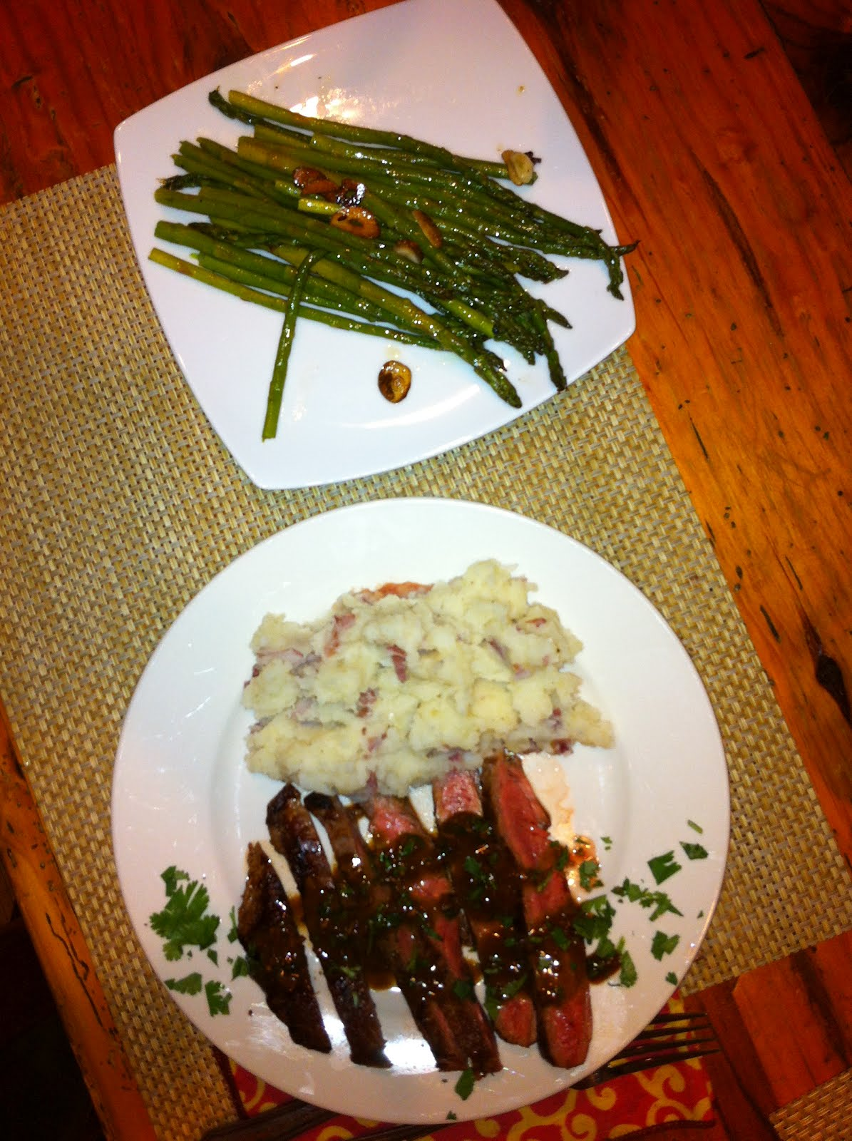 ... Pan Grilled Flank Steak with Soy Mustard Sauce , Garlic Mashed
