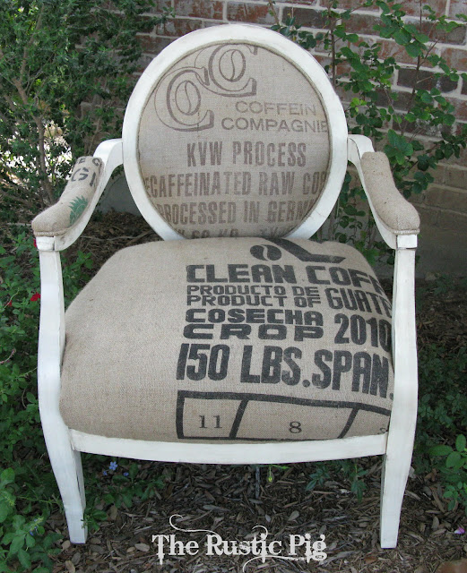 "alt=""French seed sack chair makeover"""