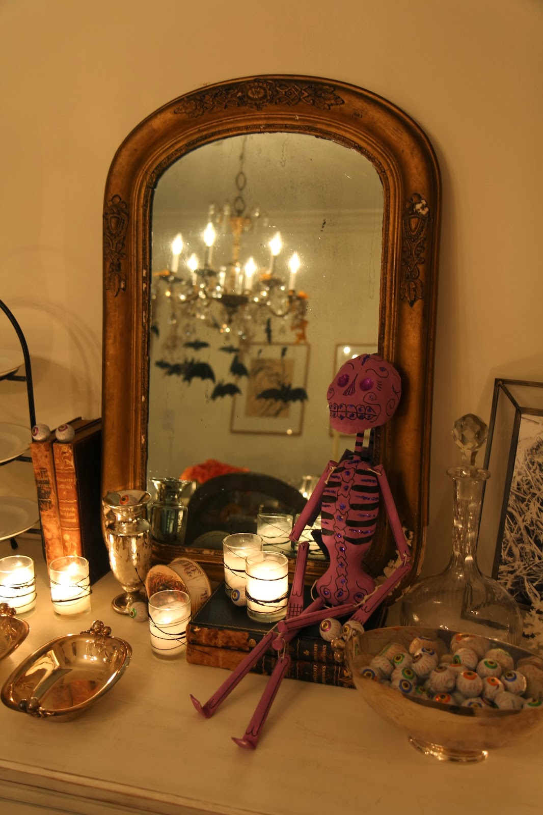 Buffet Table with Skeleton; Hauntify Your House for Halloween