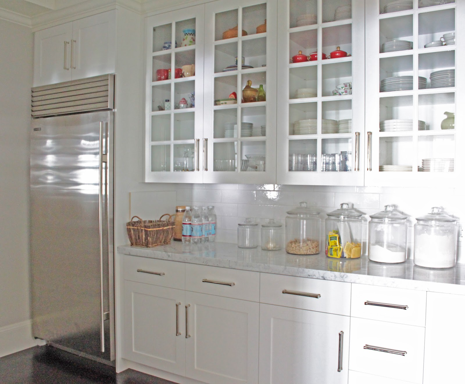 Kitchen Pantry Cabiwith Glass Doors