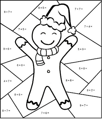 Christmas Color by Number Math Worksheets