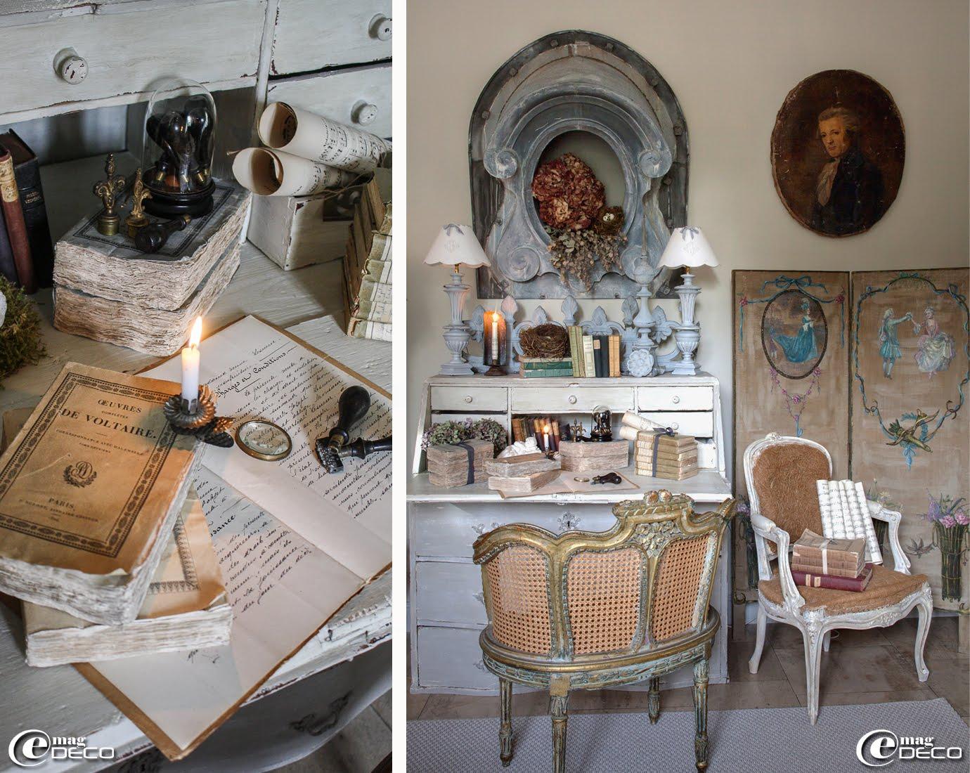 Œil de bœuf ancien, fauteuil de style Louis XVI acheté aux puces de Saint-Ouen, portrait ancien école française chiné à la foire de Chatou, paravent en toile peinte 'Dédale... l'atelier'