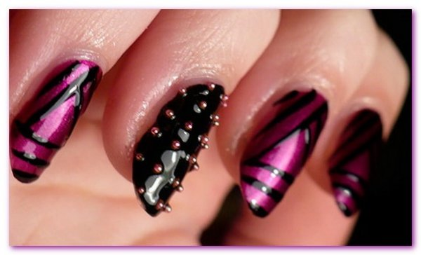 Black and Pink Striped Nail Art Accented with Stones