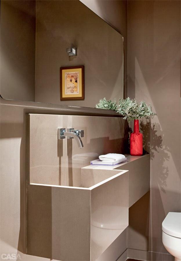 decoracao em lavabos:Lavabo em tons neutros e cuba profunda.