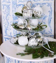 silver ornaments tiered tray Christmas table