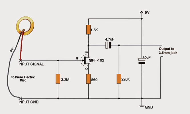 Diy Contact Mic Circuit on simple audio amplifier schematic