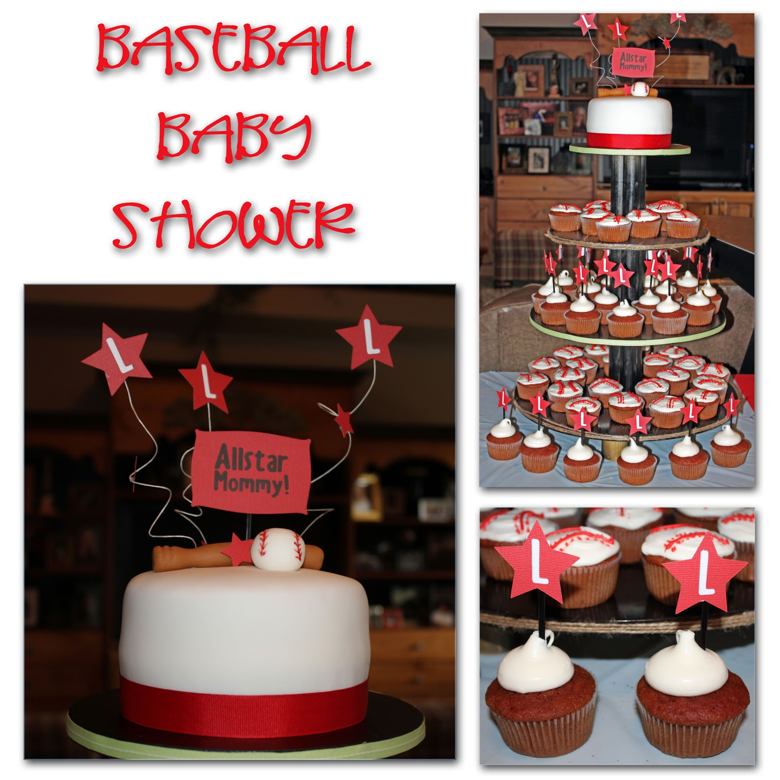 Baseball Baby Shower for Baby Liam! Red Velvet cake with buttercream ...
