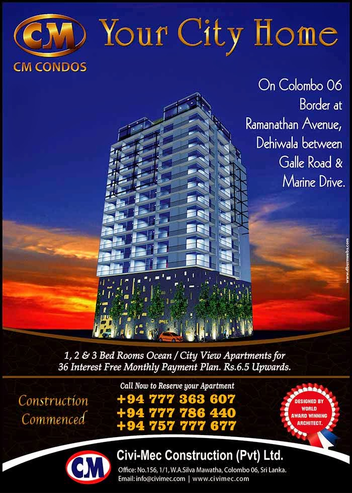 """Civi-Mec Construction (Pvt) Ltd, Established in 2004 with the Approvals from the Board of Investment of Sri Lanka & Registered Under ICTAD, have Developed & Sucessfully Completed 3 Condominium / Apartment Complexes in Colombo, Sri Lanka. We are recongnized as one of the Leading Companies in the Construction Industry of Sri Lanka Under the Brand Name of """"CM Condos"""". We serve quality conscious clients and ensure safe & secure investment in Apartments & Condominium Projects."""