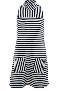 Caroline Flack, Miss Selfridge, Monochrome, Shift Dress, Striped, 60's