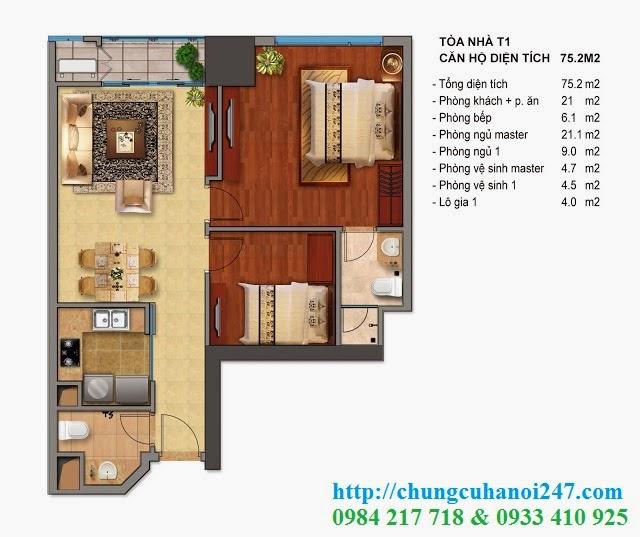 Thiết kế chi tiết căn hộ toà T1 chung cư Times City diện tích 75.2 m2