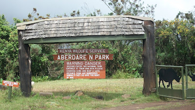 The sign next to the entrance to the Aberdares park.