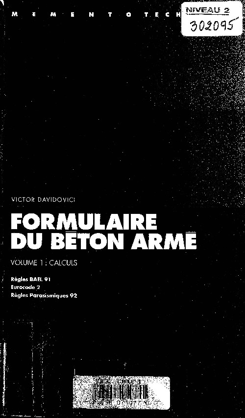 topographie formulaire du beton arme volume 1 calculs. Black Bedroom Furniture Sets. Home Design Ideas
