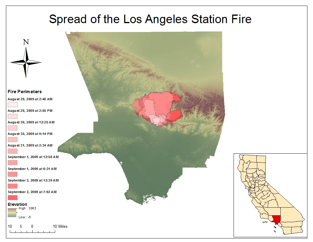 map 1 fire perimeters of the los angeles station fire