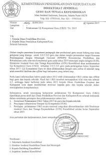 Jadwal UKG Tahun 2015 Surat Edaran Dari Ditjen GTK