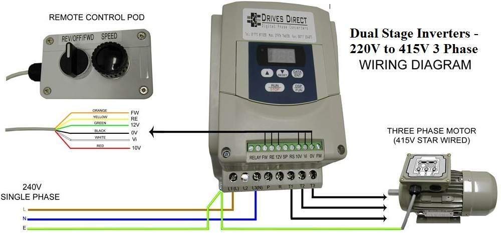 Dual Stage Inverter  220V to 415V 3 Phase     Wiring