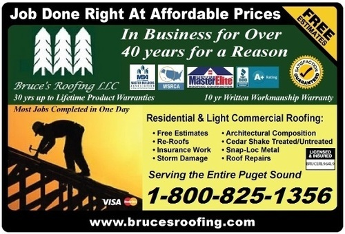 Bruce's Roofing Free Estimates (MON.-FRI.) 8:30AM-5PM