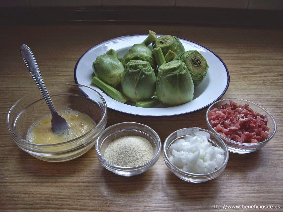 Ingredientes para las alcachofas rellenas de jamón