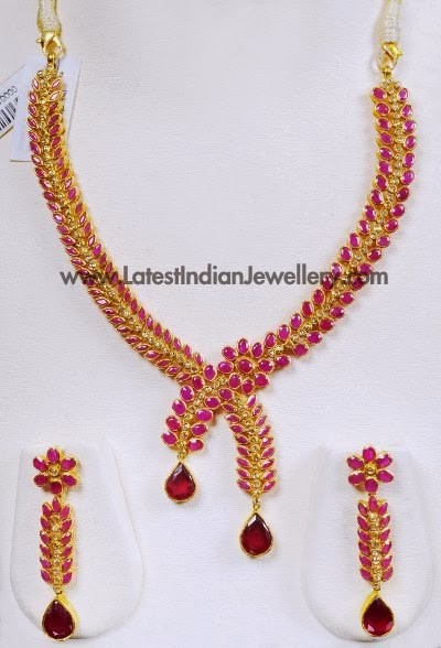 Asymmetric Designer Ruby Necklace Set