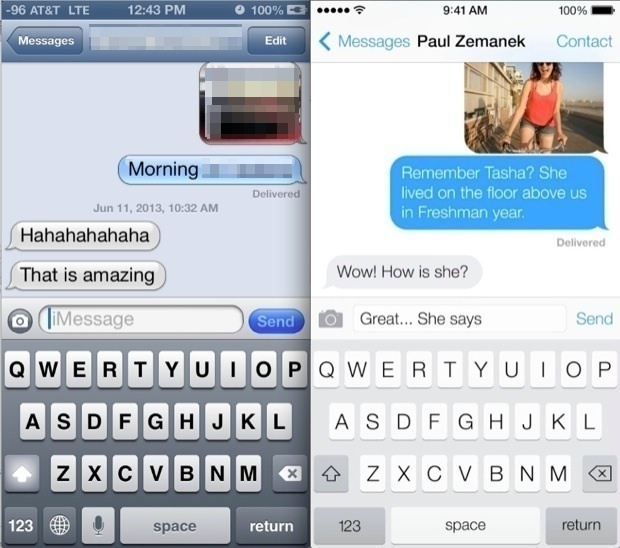 iOS 7 VS. iOS 6 Messages UI Comparison