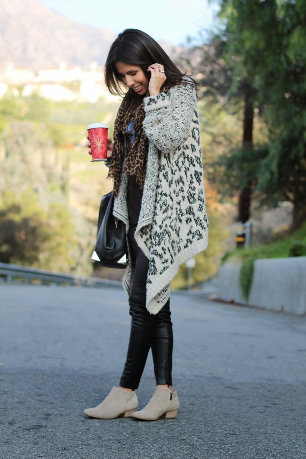 leopard cardigan scarf