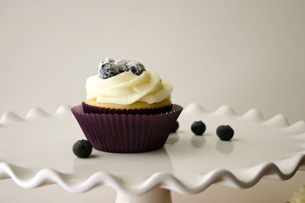 Lemon Blueberry Cupcakes with Cream Cheese Frosting.
