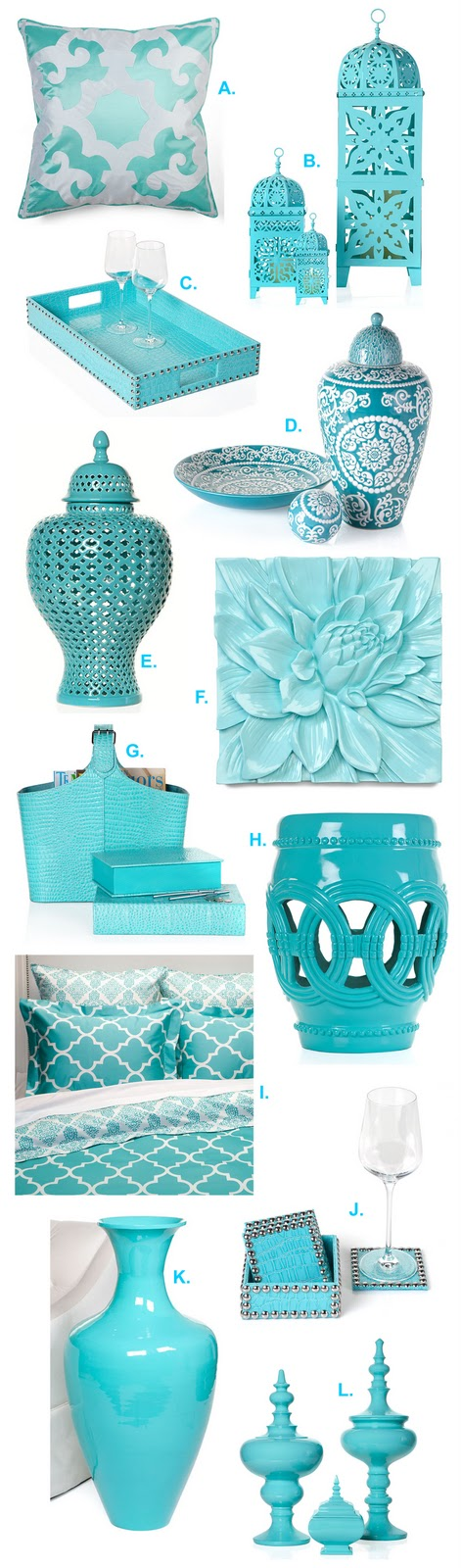 A designer a contractor a for aquamarine for Designer home decor accessories