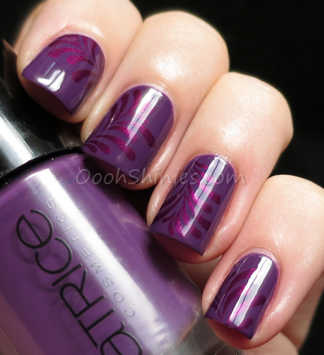 Catrice Plum Play With Me with China Glaze Don't Make Me Wine and Bundle Monster plate BM-005