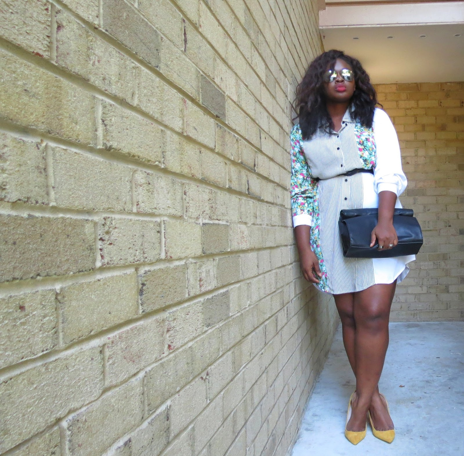 INBETWEEN: PRINTED WHITE SHIRT DRESS