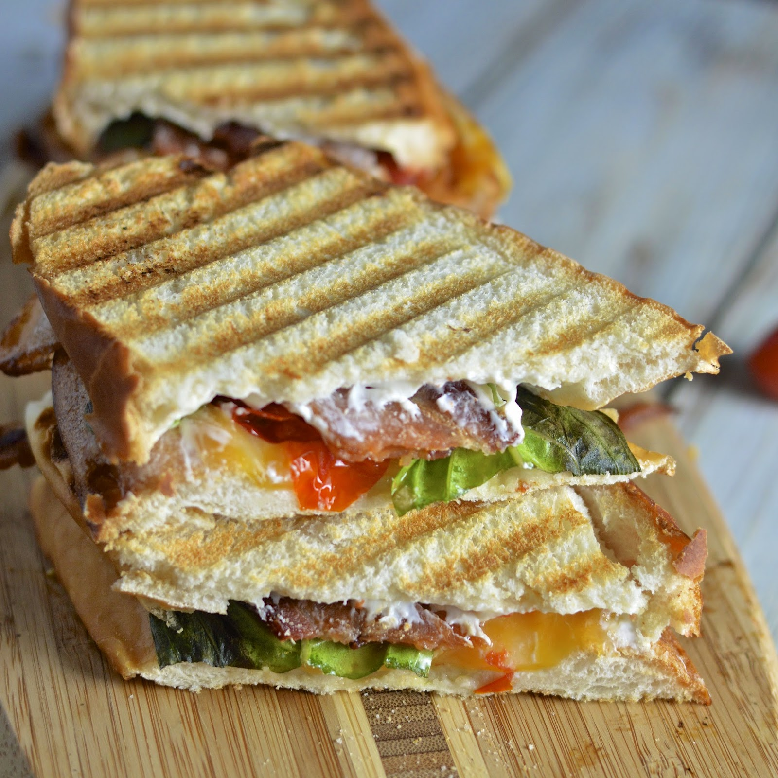 Creamy Roasted Tomato Basil Grilled Cheese with Bacon | Virtually ...