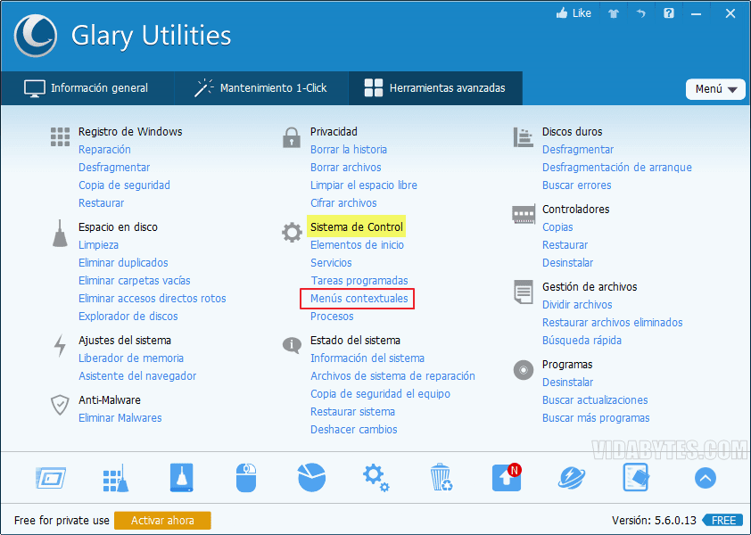 Menús contextuales Glary Utilities