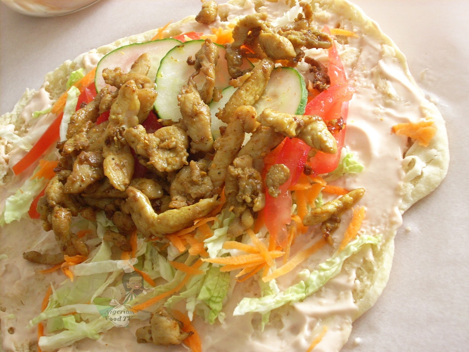 Nigerian shawarma made with homemade shawarma bread