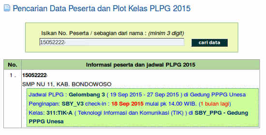 Hasil Pencarian dengan nomor peserta PLPG Rayon 114 Unesa 2015