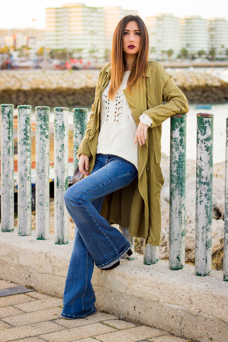 trench and flare jeans