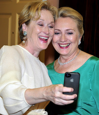 Meryl Streep and Hillary Clinton pose for photo