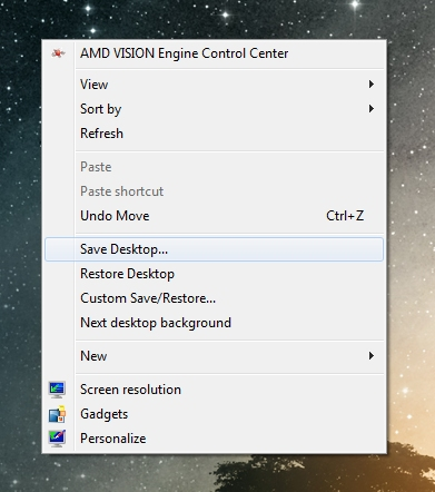 save desktop layout and restore it easily