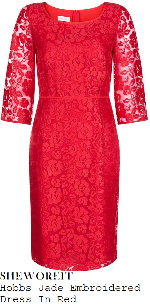 susanna-reid-red-embroidered-floral-lace-three-quarter-sleeve-pencil-dress-good-morning-britain