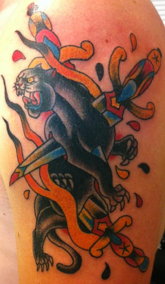 Traditional panther tattoo outline - photo#8