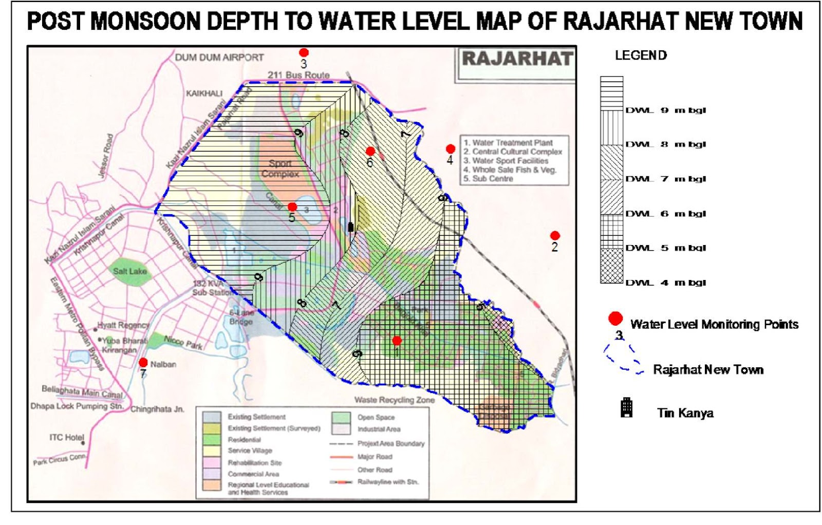 it appears that the post monsoon depth to water level of the project area is between 8 to 9 metres below ground level water level is also collected from a