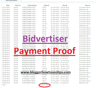 Biggest Bidvertiser payment Proof in India