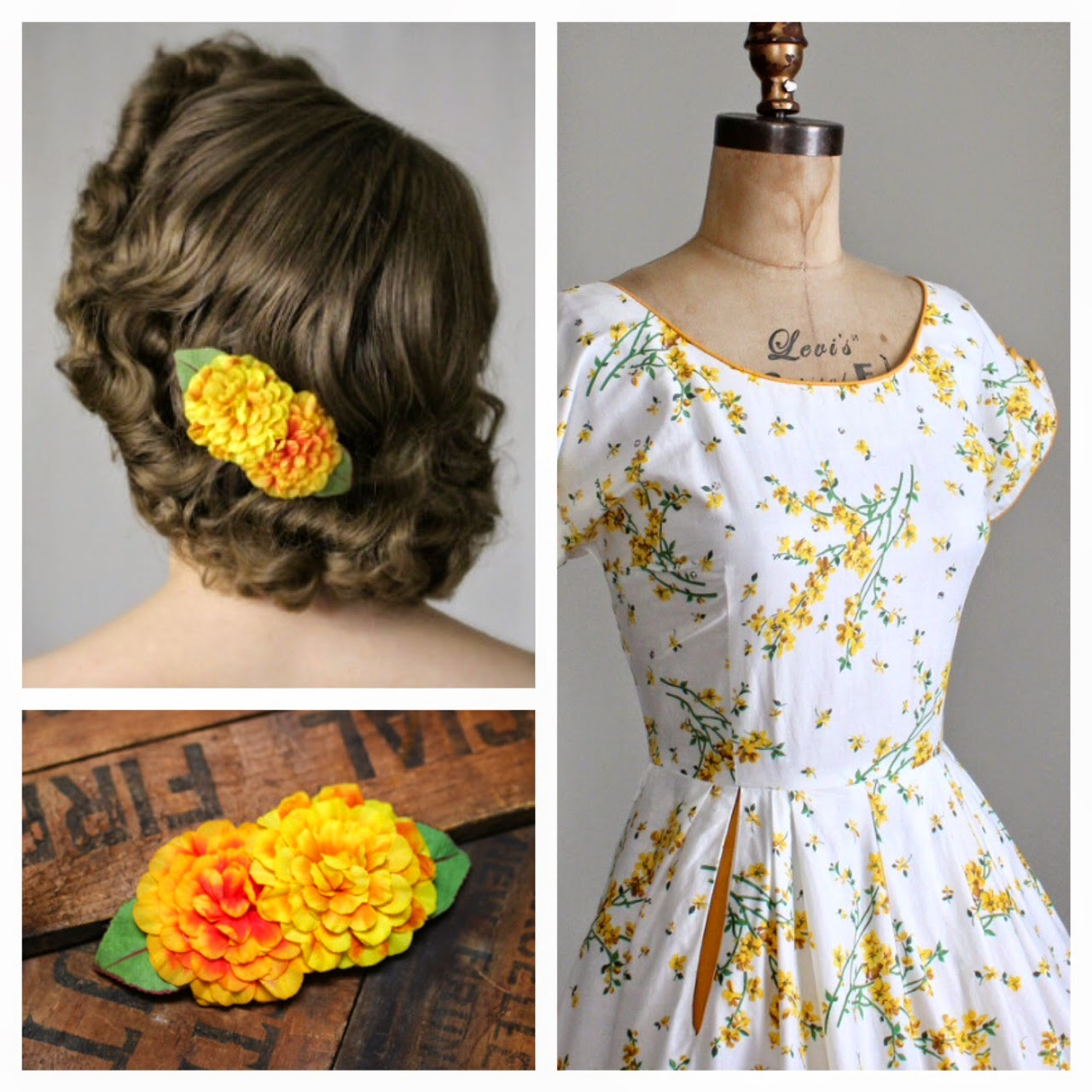 1950s floral dress white yellow