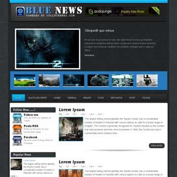 Blue News blogger template. template blogspot free