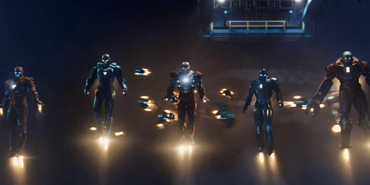 Iron Man 3 - armaduras en vuelo autónomo