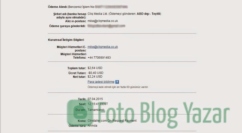 Cinstaller Ödeme Kanıtı Paypal Ekran Görüntüsü