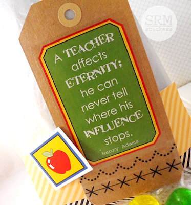 SRM Stickers Blog - Back to School & Thank you Teacher by Lesley - #gift #backtoschool #teacher #stickers #embossedglassinebag #stitches