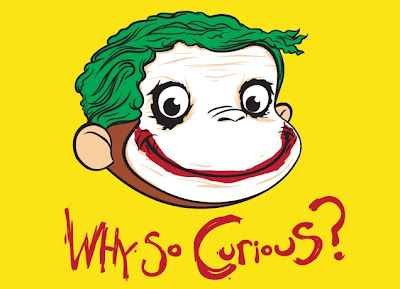 "Threadless Curious George x The Dark Knight T-Shirt ""Why So Curious?"""