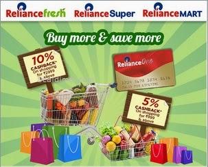 10% Cashback @ Reliance Fresh, Super, Mart