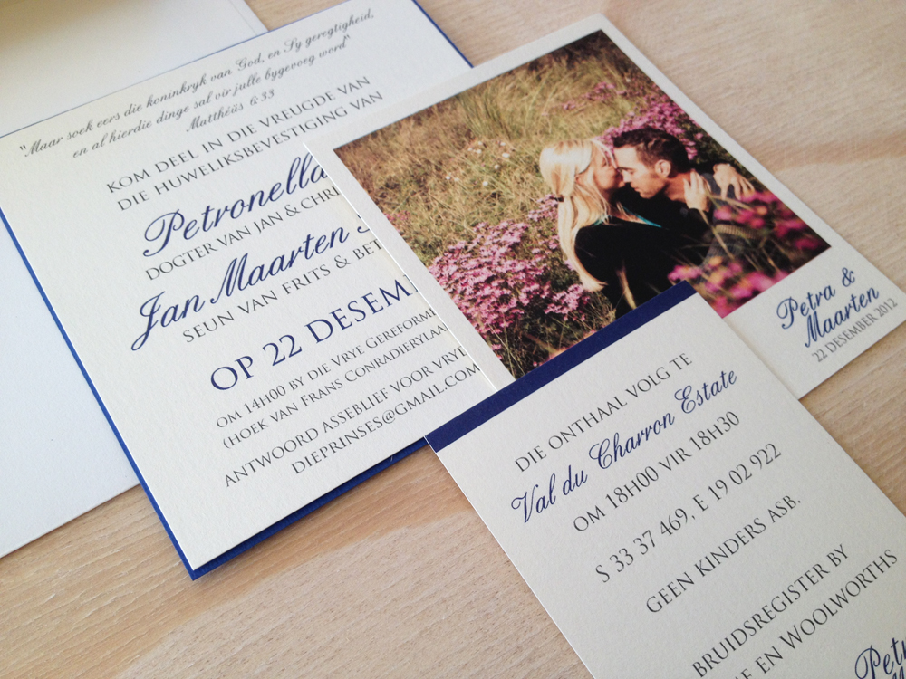 MochoLoco Petra and Maarten Navy Blue Invites